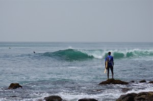 Local surfer on a small day at Vivier surfing senegal ©thefreesurfer.com