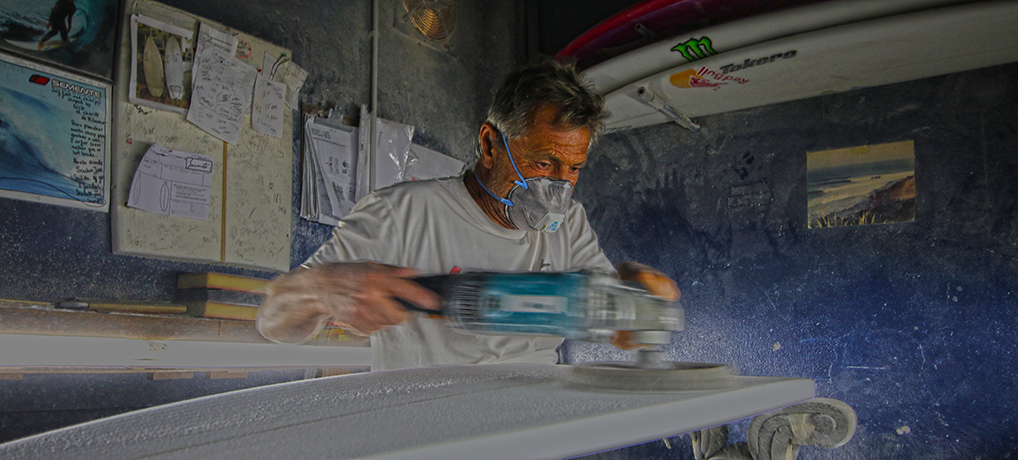 Shaper Nick Uricchio from Semente shaping a custom surfboard for thefreesurfer.com