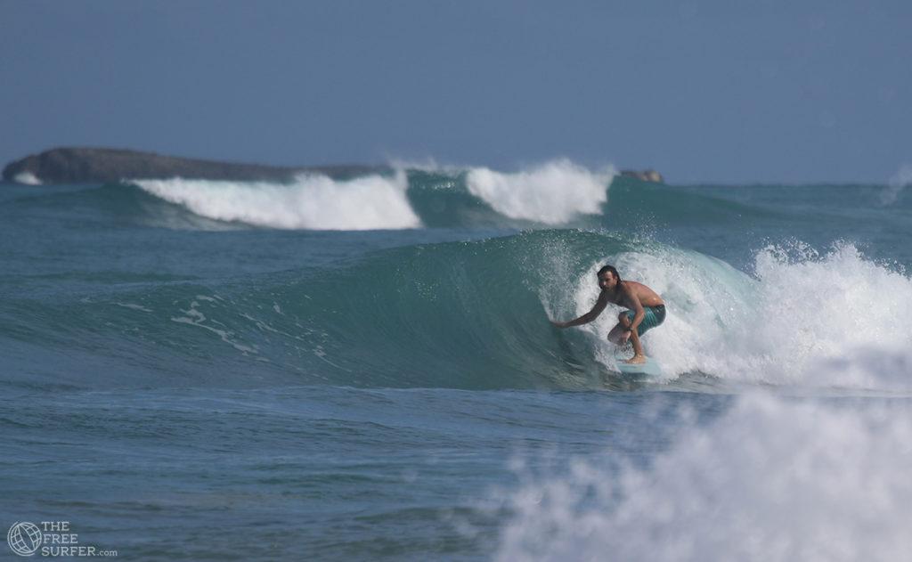 Surfing a twin fin, barrel in the Dominican Republic