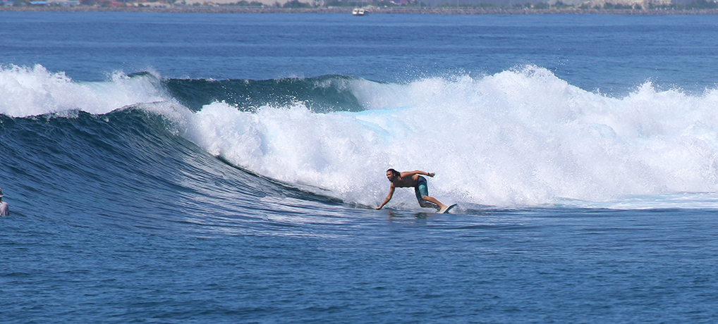 surfing a twin fin in the maldives